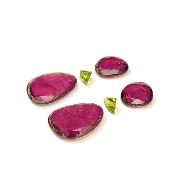 turmalin,peridot,ohrringe,rosa,gruen